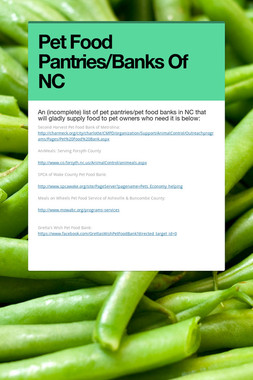 Pet Food Pantries/Banks Of NC