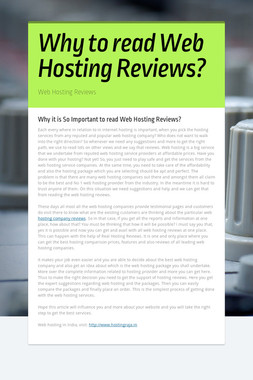 Why to read Web Hosting Reviews?