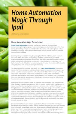 Home Automation Magic Through Ipad