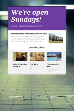 We're open Sundays!