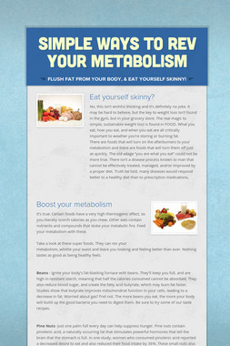 Simple Ways to Rev Your Metabolism