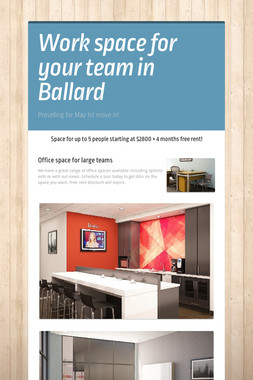 Work space for your team in Ballard