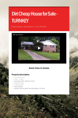 Dirt Cheap House for Sale - TURNKEY