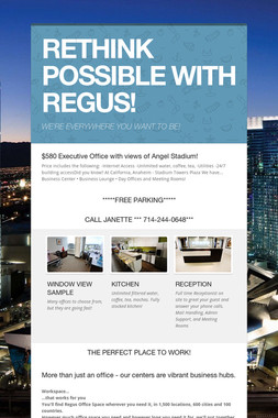 RETHINK POSSIBLE WITH REGUS!