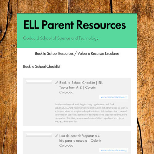 ELL Parent Resources