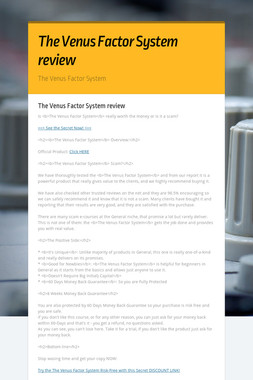 The Venus Factor System review