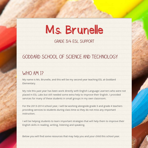 Ms. Brunelle- Grade 3/4 ESL Support