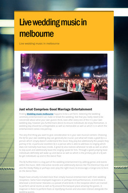 Live wedding music in melbourne