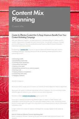 Content Mix Planning