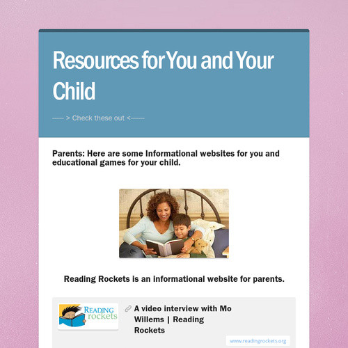 Resources for You and Your Child