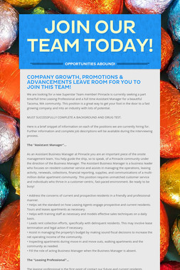 Join Our Team Today!