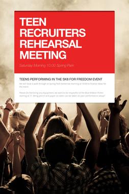 TEEN RECRUITERS REHEARSAL MEETING