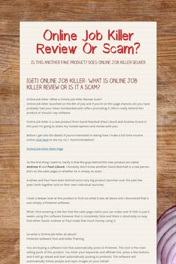 Online Job Killer Review Or Scam?