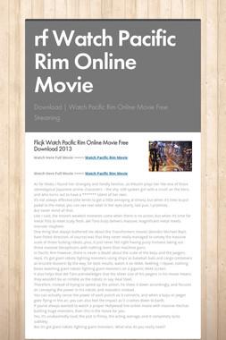 rf Watch Pacific Rim Online Movie