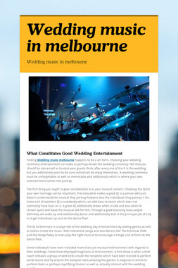 Wedding music in melbourne