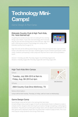 Technology Mini-Camps!