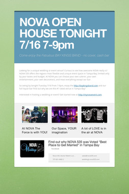 NOVA OPEN HOUSE TONIGHT 7/16 7-9pm