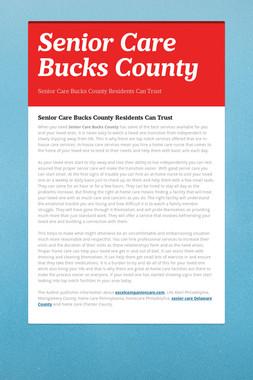 Senior Care Bucks County