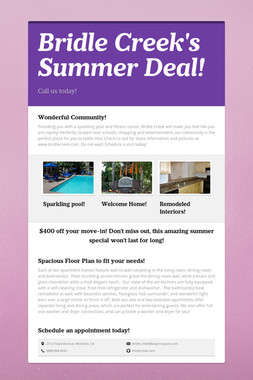 Bridle Creek's Summer Deal!