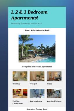 1, 2 & 3 Bedroom Apartments!