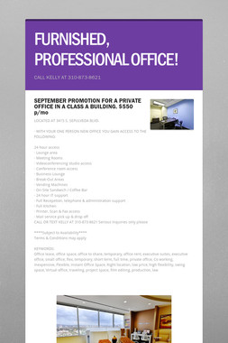 FURNISHED, PROFESSIONAL OFFICE!