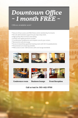 Downtown Office ~ 1 month FREE ~