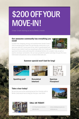 $200 OFF YOUR MOVE-IN!