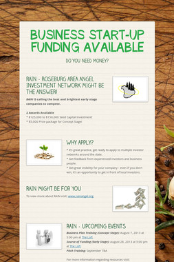 BUSINESS START-UP FUNDING AVAILABLE