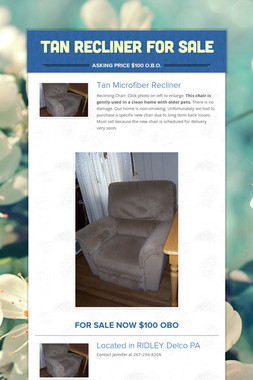 Tan Recliner for Sale