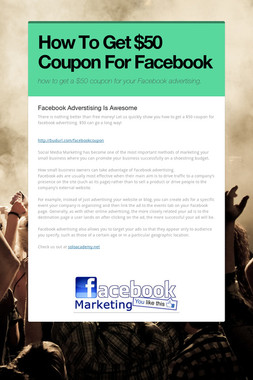How To Get  $50 Coupon For Facebook