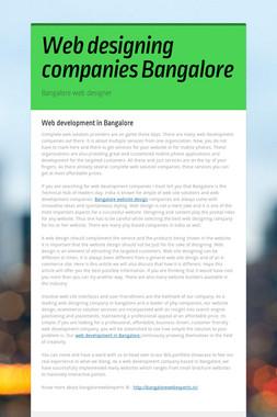 Web designing companies Bangalore