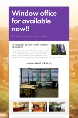 Window office for available now!!