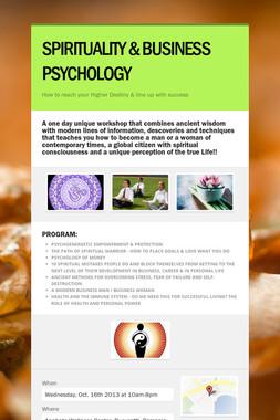 SPIRITUALITY & BUSINESS PSYCHOLOGY