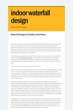 indoor waterfall design