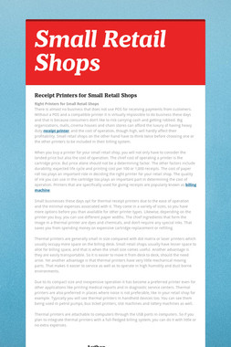 Small Retail Shops