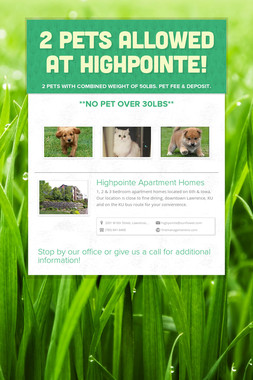 2 Pets Allowed At Highpointe!