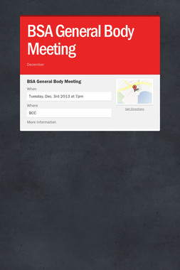 BSA General Body Meeting