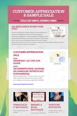 Customer Appreciation & Sample Sale