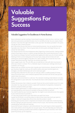 Valuable Suggestions For Success