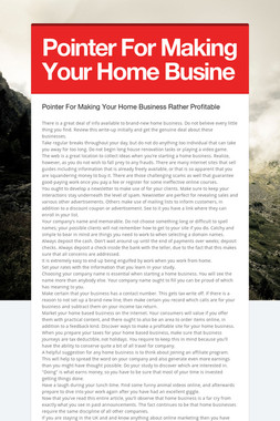 Pointer For Making Your Home Busine