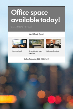 Office space available today!