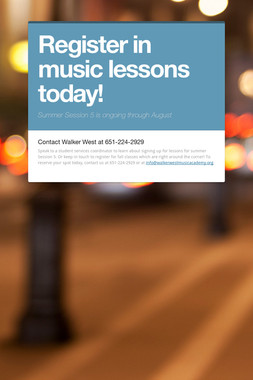 Register in music lessons today!