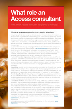 What role an Access consultant