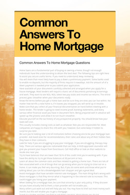 Common Answers To Home Mortgage
