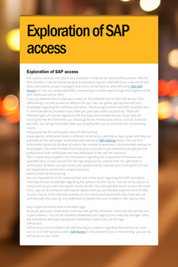 Exploration of SAP access