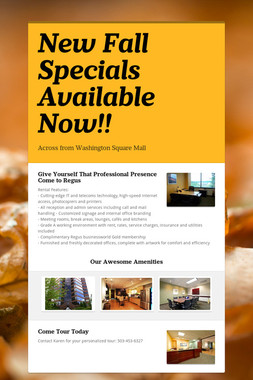 New Fall Specials Available Now!!