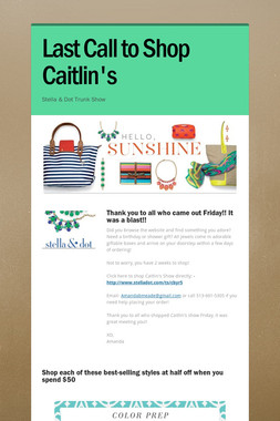 Last Call to Shop Caitlin's