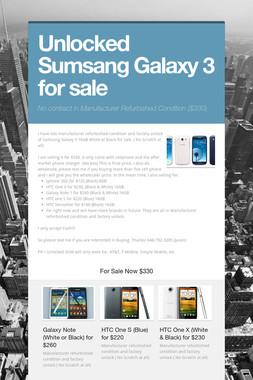 Unlocked Sumsang Galaxy 3 for sale