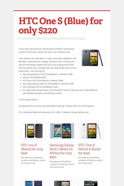 HTC One S (Blue) for only $220