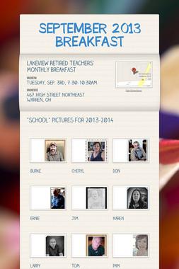 SEPTEMBER 2013 BREAKFAST